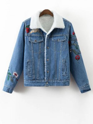 Faux Shearling Floral Embroidered Jean Coat - Denim Blue