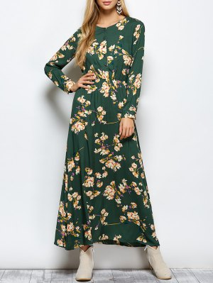 Long Sleeves Maxi Floral Dress - Green