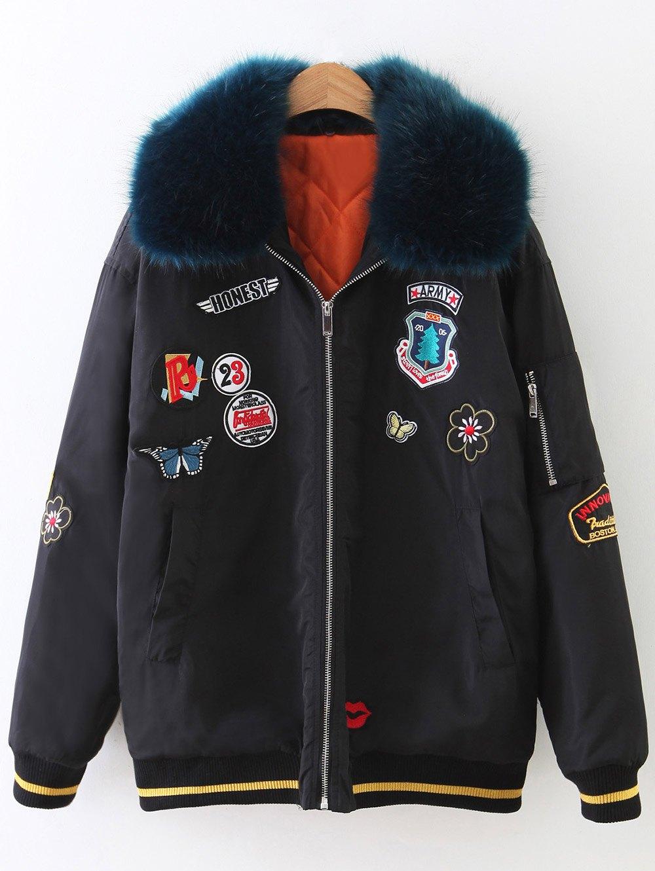 Fur Collar Patch Design Padded Bomber Jacket