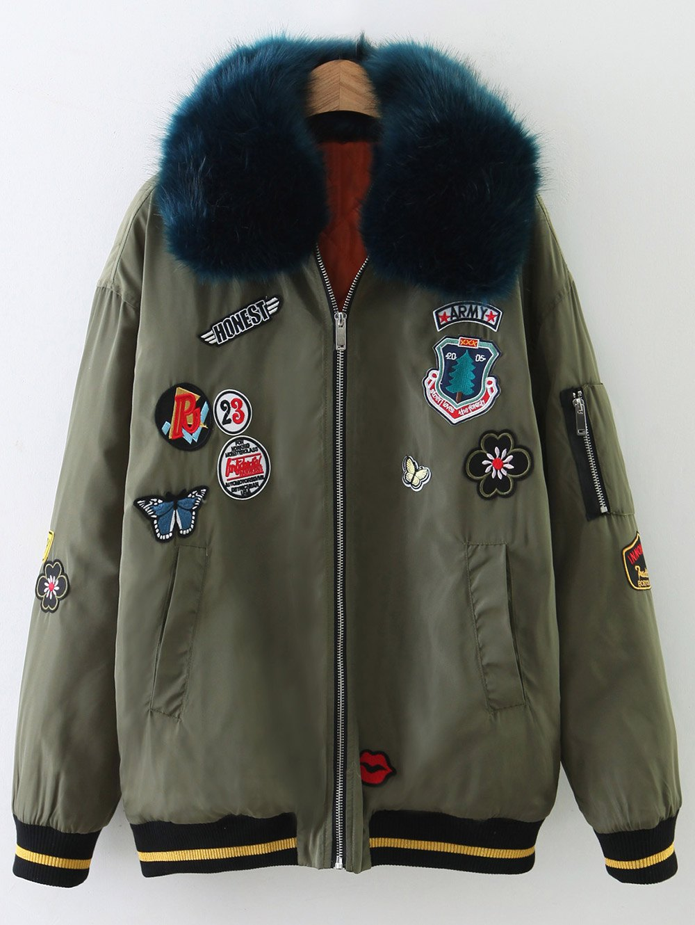 Patch Design Fur Collar Padded Bomber JacketClothes<br><br><br>Size: L<br>Color: ARMY GREEN