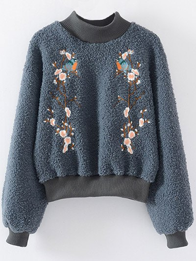 Floral Embroidered Sherpa SweatshirtClothes<br><br><br>Size: ONE SIZE<br>Color: BLUE GRAY