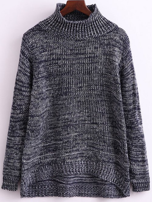 Heathered Funnel Neck KnitwearClothes<br><br><br>Size: ONE SIZE<br>Color: GRAY