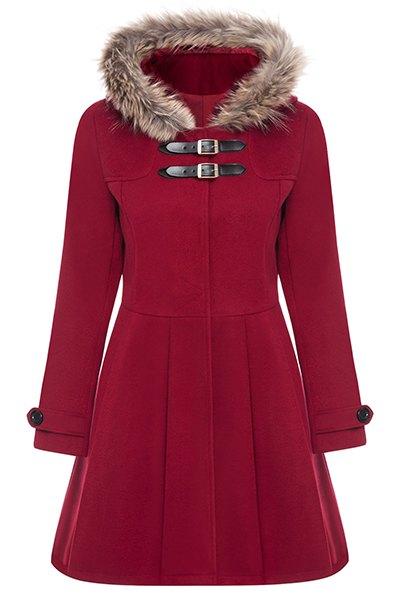 Wool Blend A Line Coat