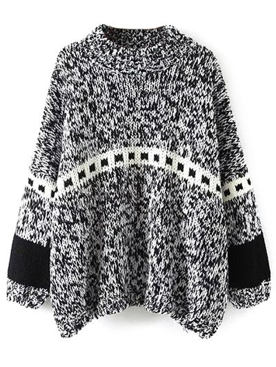 Batwing Sleeve Heathered Mock Neck SweaterClothes<br><br><br>Size: ONE SIZE<br>Color: BLACK