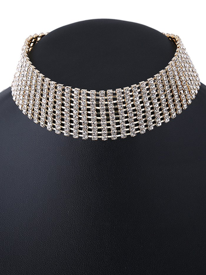 Rhinestone Hollowed Choker Necklace