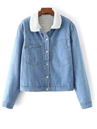 Button Up Faux Shearling Jean Coat