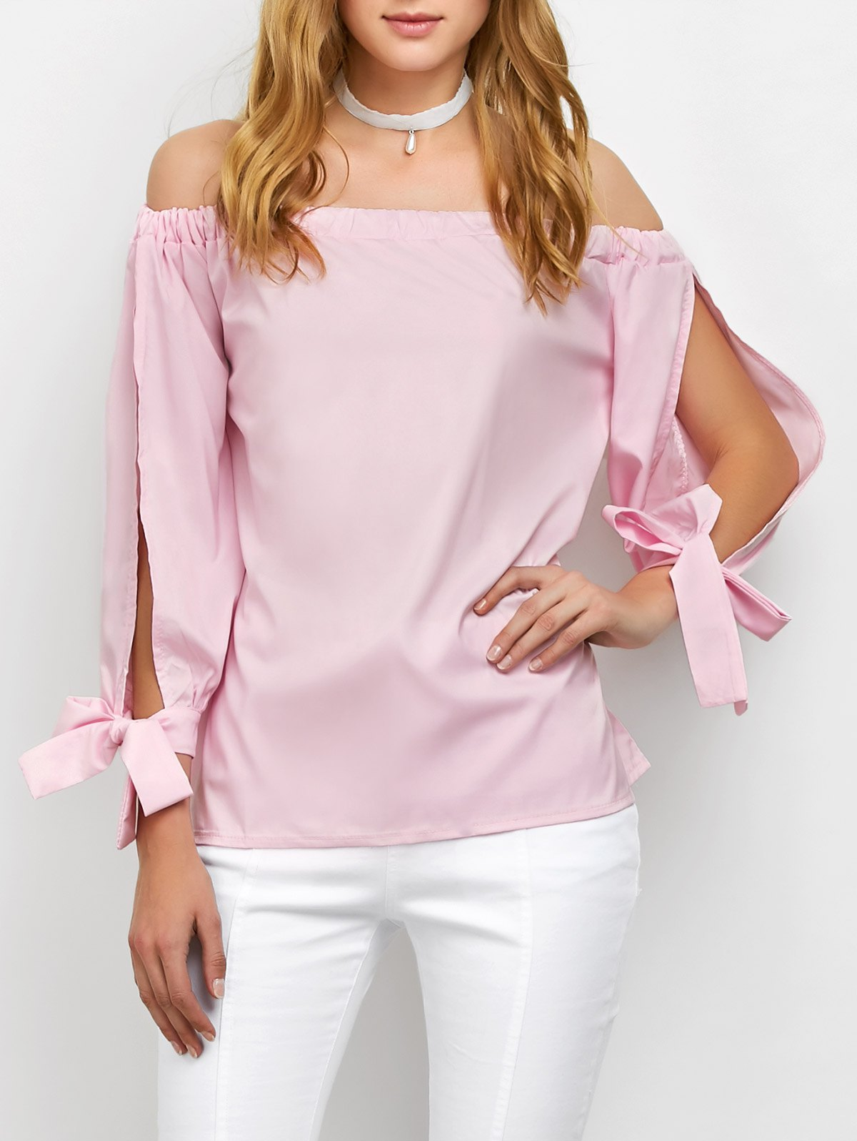 Off The Shoulder Split Sleeve Blouse