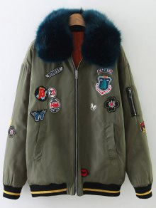 Buy Patch Design Fur Collar Padded Bomber Jacket L ARMY GREEN