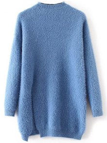 Slit Mock Neck Fuzzy Sweater