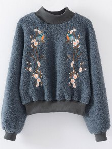 Floral Embroidered Sherpa Sweatshirt - Blue Gray