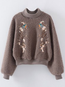 Floral Embroidered Sherpa Sweatshirt - Coffee