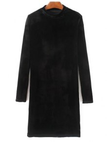 Mock Neck Long Sleeves Velvet Dress - Black S