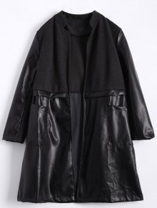 PU Leather Panel Plus Size Coat - Black 3xl