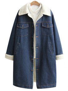 Loose Lamb Wool Denim Coat - Blue S