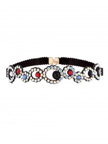 Rhinestoned Floral Choker Necklace