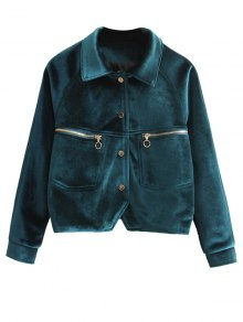 Zipper Embroidered Velvet Jacket - Blackish Green M