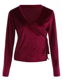 Buy Long Sleeve Velvet Wrap Top L WINE RED