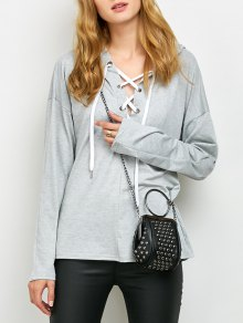Long Sleeve Lace Up Hooded T Shirt - Gray