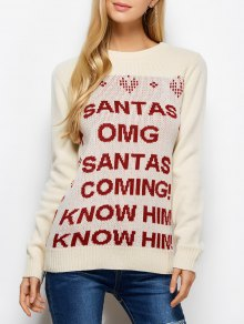 Letter Crew Neck Christmas Pullover Sweater