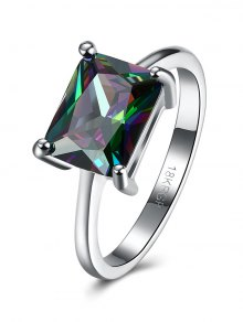Geometric Artificial Zircon Ring - Silver 7