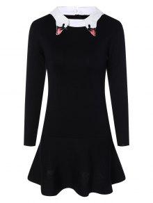 Buy Flat Collar Embroidered Mermaid Sweater Dress - BLACK S