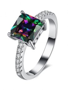 Artificial Gem Rhinestone Square Ring - Silver 6