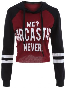 Raw Cut Raglan Sleeve Cropped Hoodie - Red With Black M