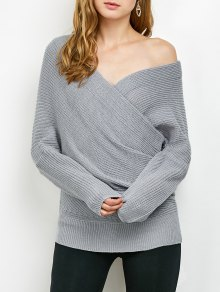 Wrap Front Sweater - Gray