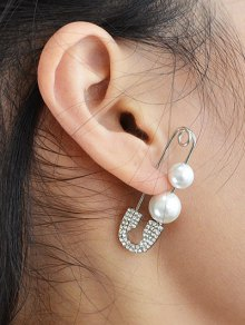 ONE PIECE Faux Pearl Rhinestone Pin Earring