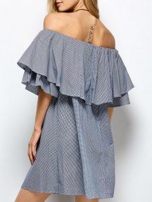 Checked Off The Shoulder Ruffle Dress