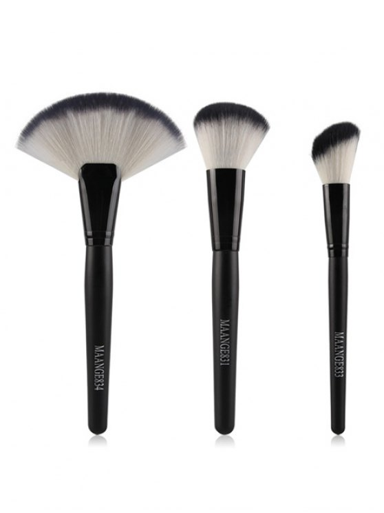unique 3 Pcs Facial Nylon Makeup Brushes Set - BLACK