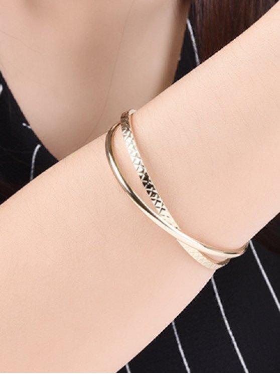 Crossover Engraved Bracelet - GOLDEN  Mobile