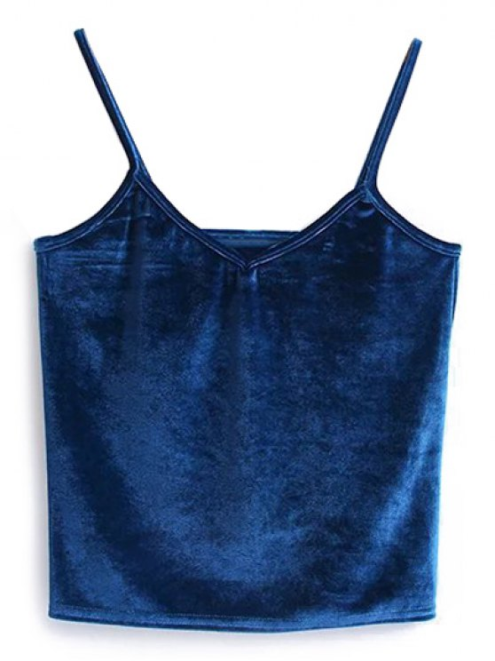 Camisole Velvet Top - PEACOCK BLUE ONE SIZE Mobile
