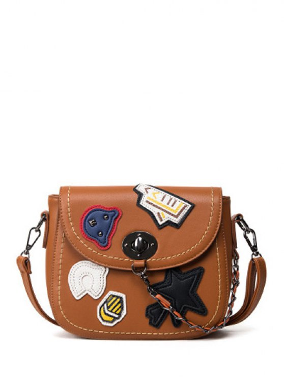 Patches Chains Crossbody Bag - BROWN  Mobile