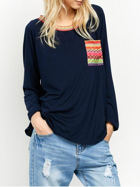 Bolsillo de la túnica de cuello redondo impresa de la camiseta - Teal M