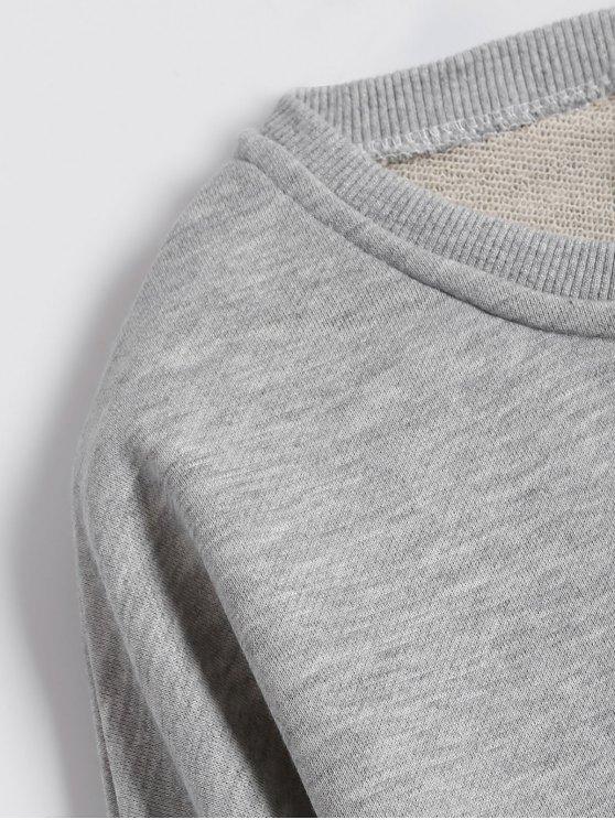 Graphic Raw Edge Oversized Sweatshirt - GRAY L Mobile