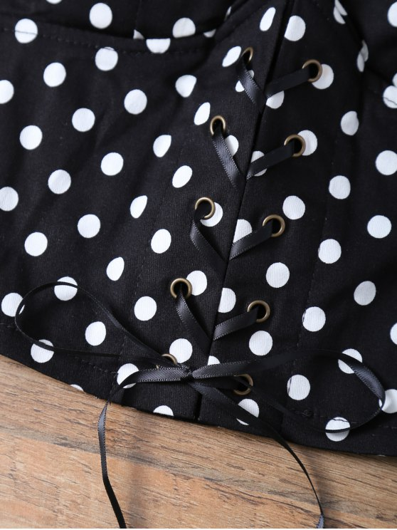 Lace Up Padded Polka Dot Bralet Top - BLACK ONE SIZE Mobile
