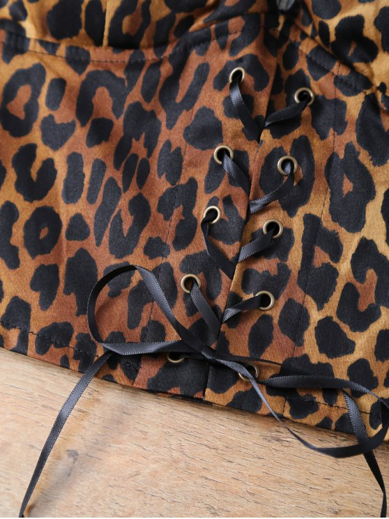 Padded Lace Up Leopard Print Bralet Top - LEOPARD ONE SIZE Mobile