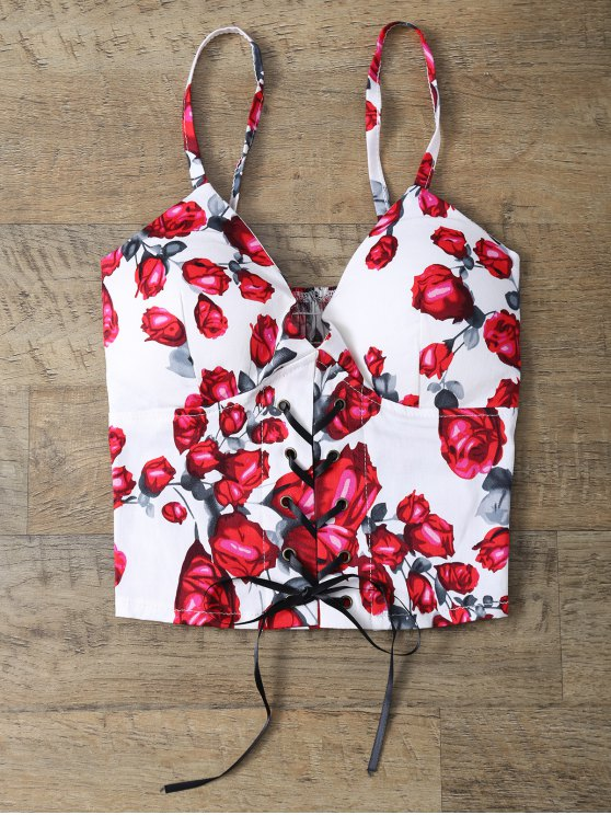 Padded Rose Print Lace Up Bralet Top - FLORAL ONE SIZE Mobile