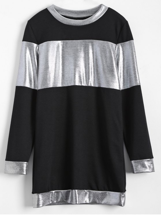 Metallic Color Long Sleeve Mini Dress - BLACK XL Mobile