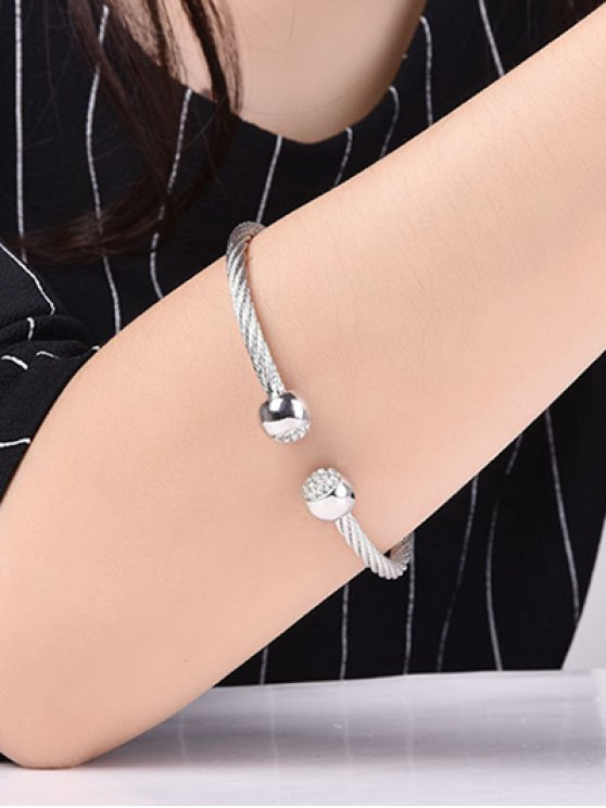 Rhinestone Twisted Cuff Bracelet - WHITE + GOLD  Mobile