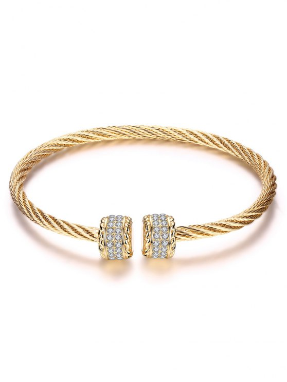 Twisted Wire Cuff Bracelet - CHAMPAGNE GOLD  Mobile