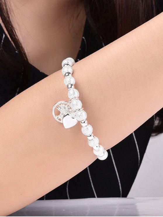 Silver Tree Heart Beaded Bracelet - SILVER  Mobile