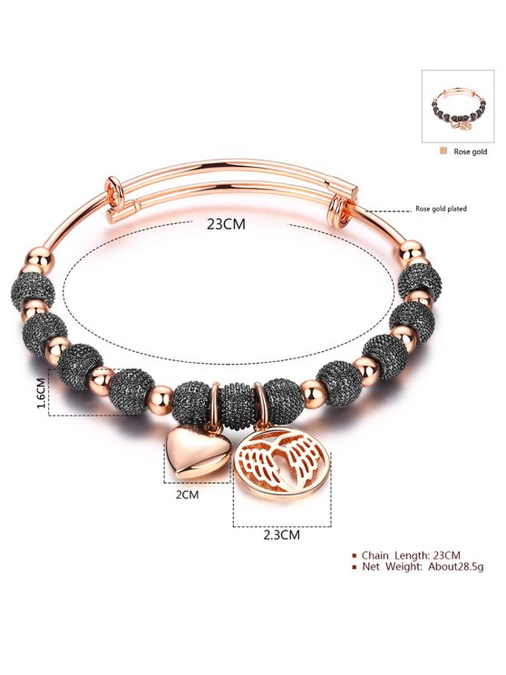 Heart Dull Polished Beaded Bracelet -   Mobile