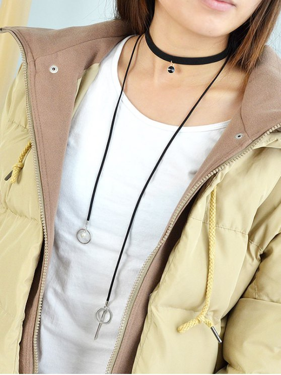 Round Tassel Layered  Choker Necklace - BLACK  Mobile