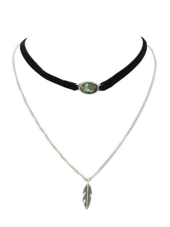 Leaf Layered Oval Faux Gem Necklace - BLACK  Mobile