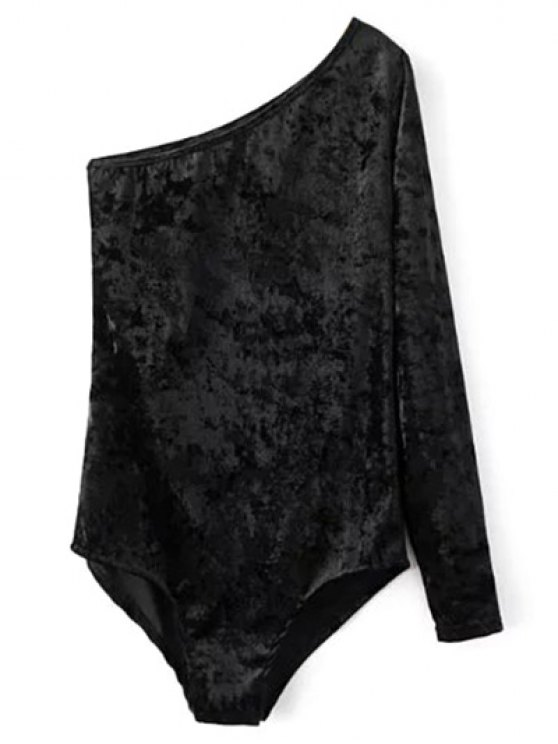 One Sleeve Velvet Skew Neck Bodysuit - BLACK M Mobile