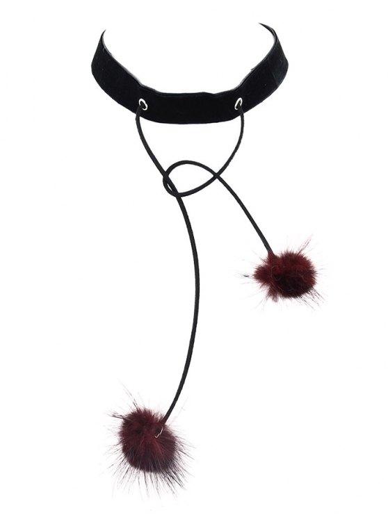 Fuzzy Ball Velvet Choker Necklace -   Mobile