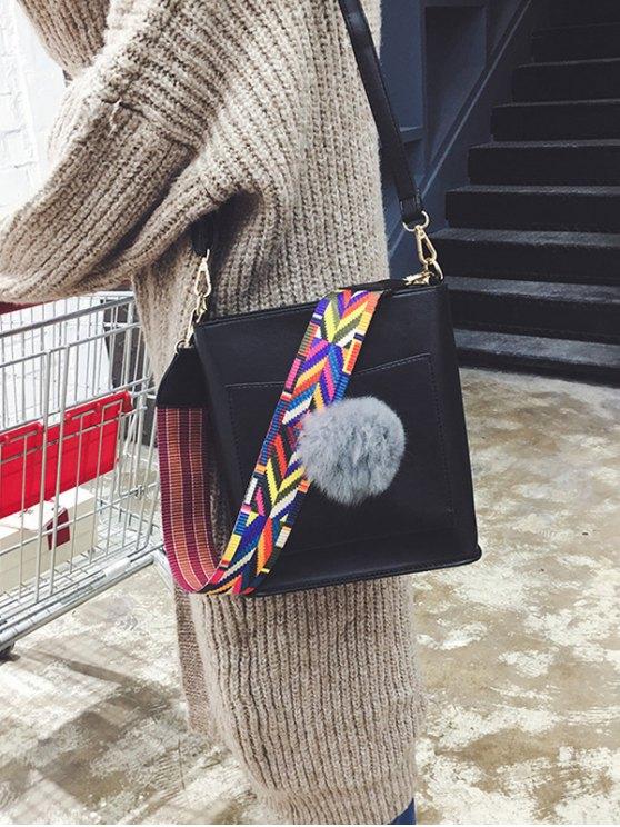Colorful Strap Pompon Shoulder Bag - BLACK  Mobile