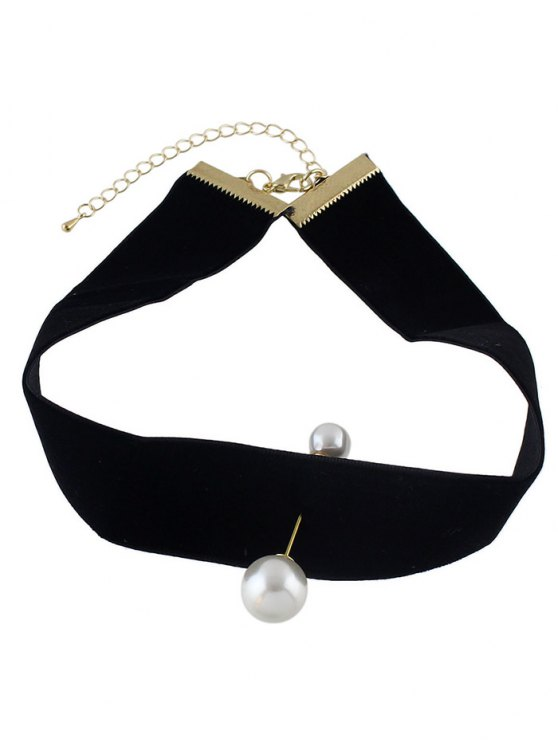 Fake Pearl Leather Wide Choker -   Mobile